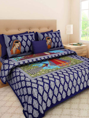 Shopiz Jaipuri Cotton Rajasthani Double Bedsheet with 2 Pillow Cover