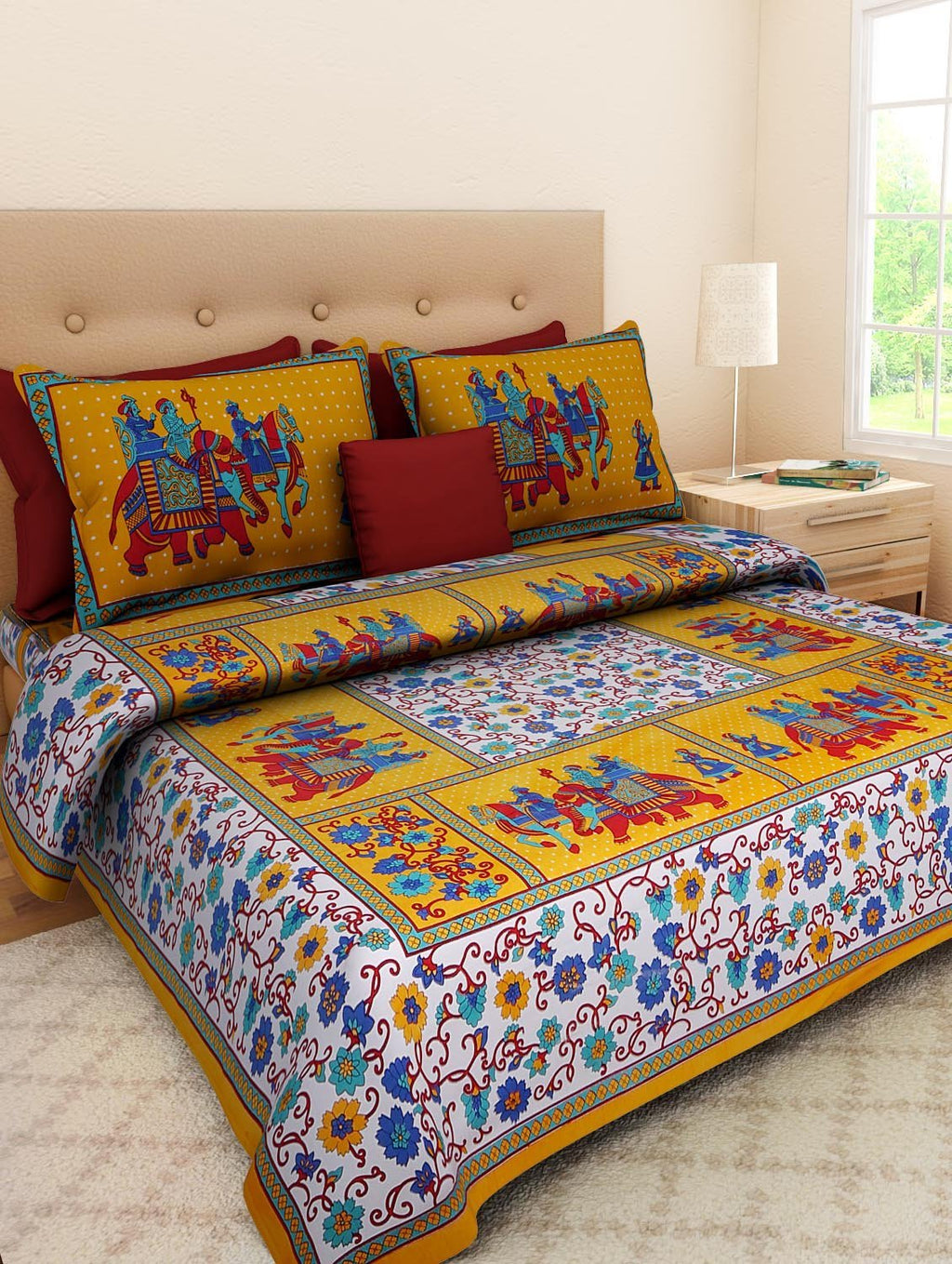 Cotton Printed King Size Double Bedsheets with 2 Pillow Covers