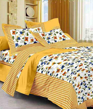 Jaipuri Cotton Double Bedsheet with 2 Pillow Covers (Yellow)