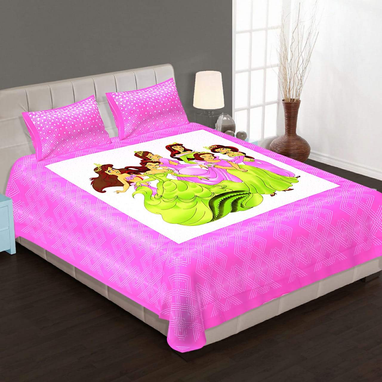 Shopiz Fairies Double Bed Bedsheet with 2 Pillow Covers