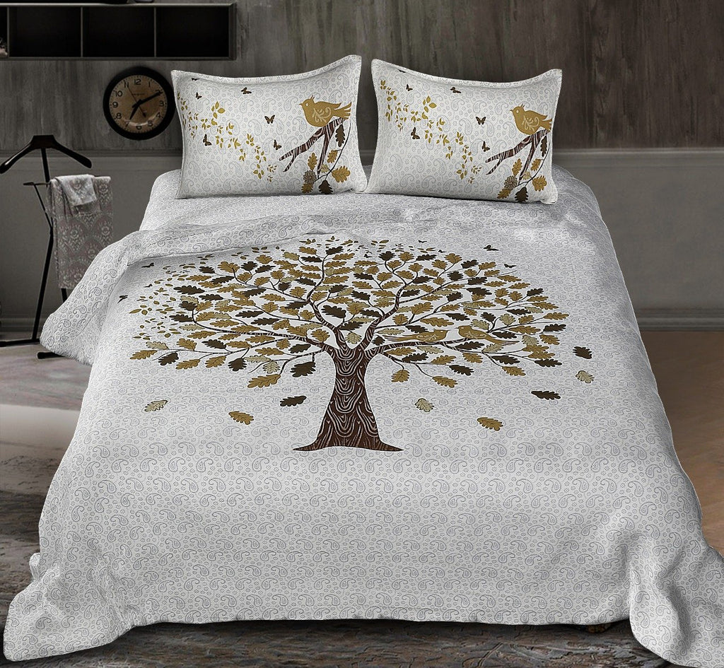 Jaipuri Tree Print Cotton Rajasthani Tradition  Double Bedsheet with 2 Pillow Cover