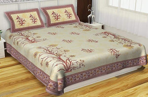Rajasthani Traditional  Double Bedsheet With 2 Pillow Cover