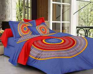 Floral Mandala Cotton Double Bedsheet with 2 Pillow Covers, Sapphire Blue