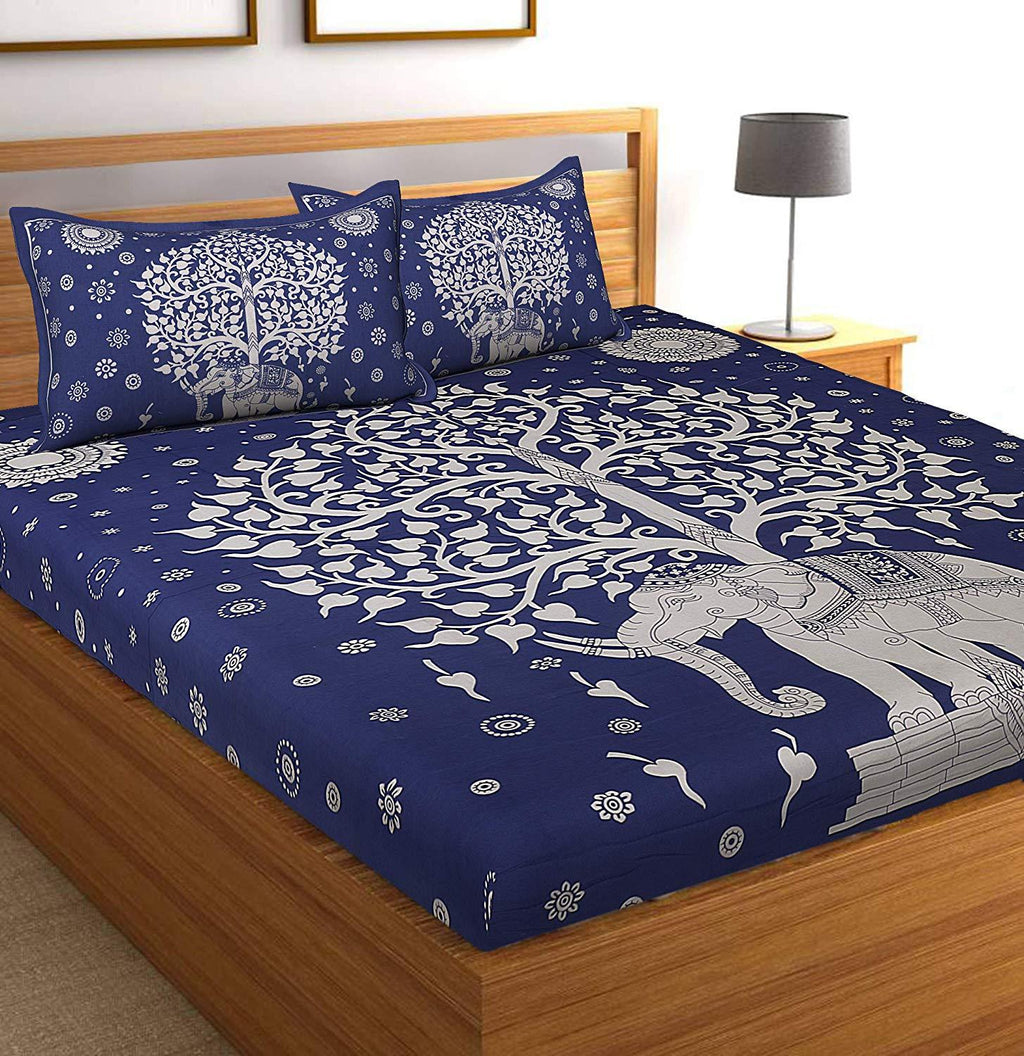 Cotton Rajasthani Jaipuri Traditional King Size Double Bedsheet with 2 Pillow Covers - Blue