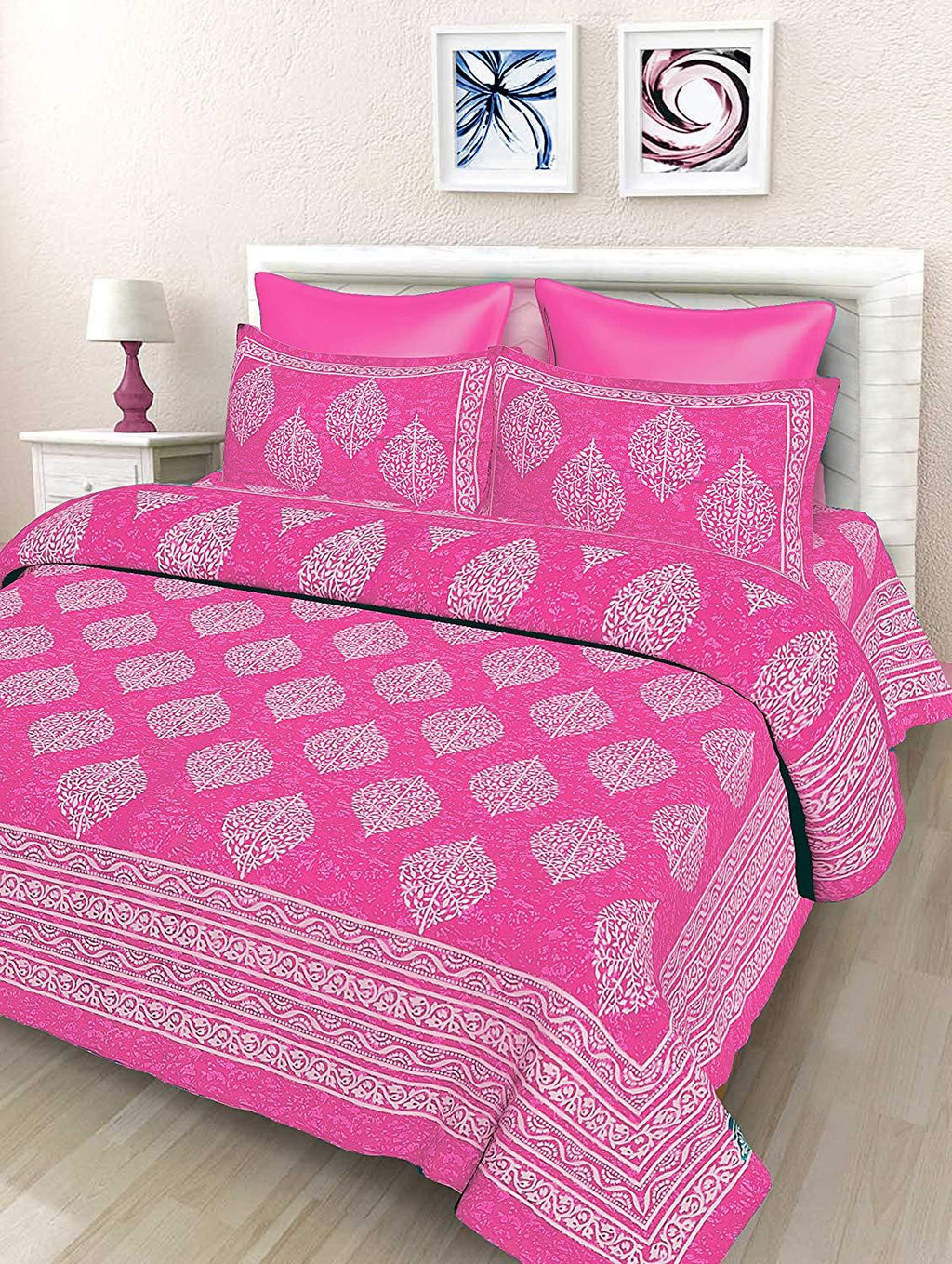 Shopiz Floral Printed 144 TC Cotton Double Bedsheet with 2 Pillow Covers, Pink