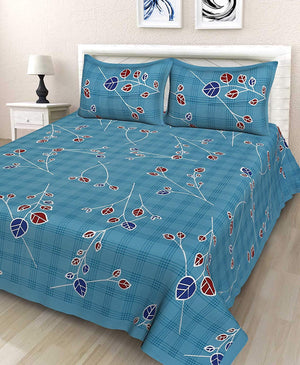 Jaipuri Cotton Rajasthani Traditional Double Bedsheet with 2 Pillow Cover