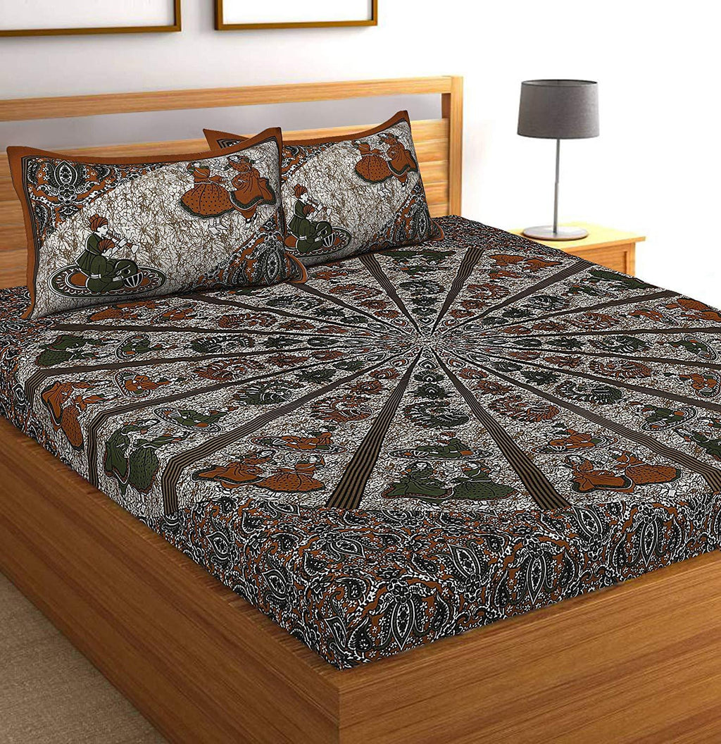 Jaipuri Cotton Jaipuri Printed Bedsheet for Double Bed