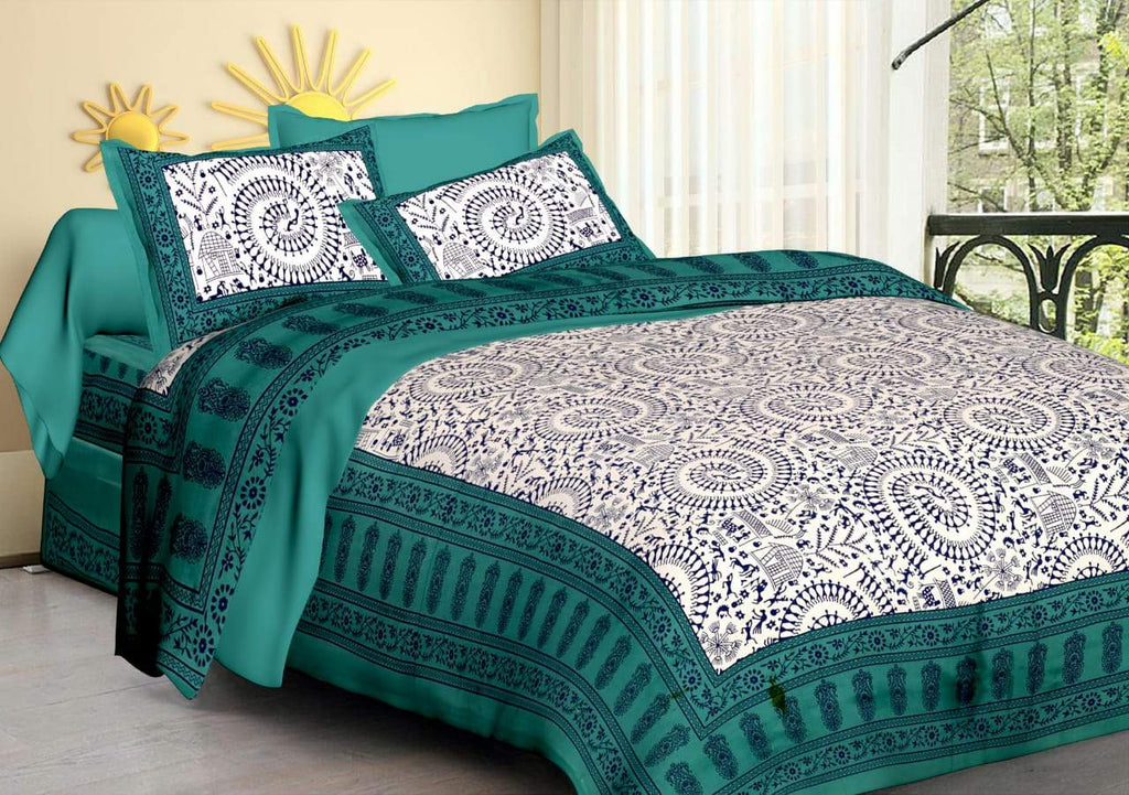 Shopiz Jaipuri Traditional Double Bedsheet with 2 Pillow Covers - Multi