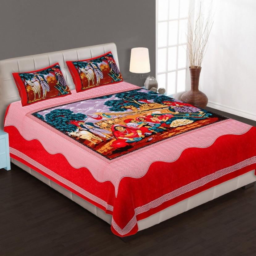 Shopiz Jaipuri Traditional Village Double Bedsheet with 2 Pillow Covers
