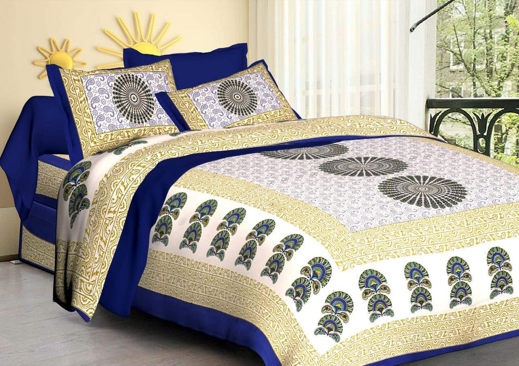 Shopiz Jaipuri Traditional Morpankh flower Double Bedsheet with 2 Pillow Covers