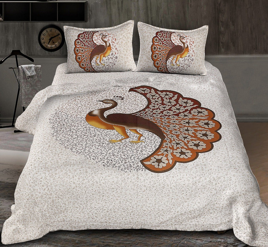 Jaipuri Peacock Print Cotton Rajasthani Tradition  Double Bedsheet with 2 Pillow Cover