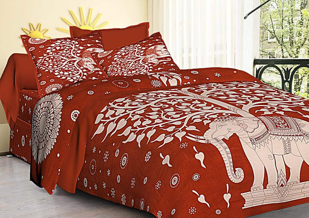 Jaipuri tree elephant Print Cotton Rajasthani Tradition  Double Bedsheet with 2 Pillow Cover