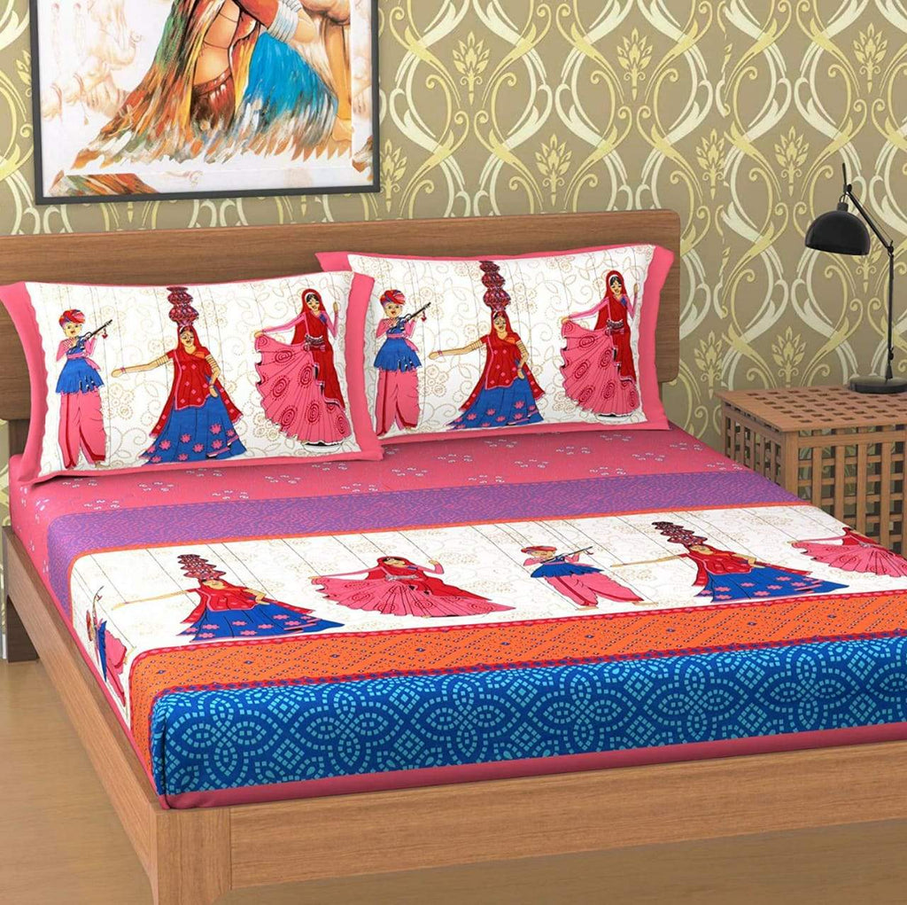Shopiz Cotton Rajasthani Panghat Double Bedsheet with 2 Pillow Cover
