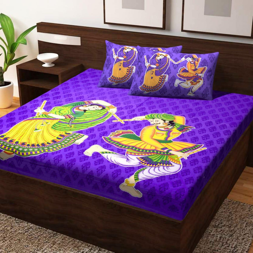 Shopiz Jaipuri Traditional Dancing Couple Double Bedsheet with 2 Pillow Covers