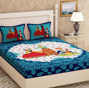 Shopiz Cotton Rajasthani Nritya Double Bedsheet with 2 Pillow Cover