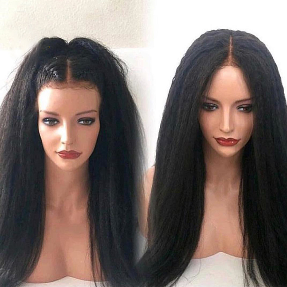 13*4 Kinky Straight Wig Lace Front Human Hair Wigs For Women Natural Black Remy Brazilian Bleached Knots - jkhairshop