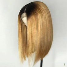 Load image into Gallery viewer, 130% 13*4 Straight Short Bob Wigs 1B/27 Black For Women Remy Brazilian Lace Front Human Hair Wig Bleached Knots Low Ratio - jkhairshop