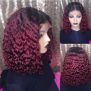 Curly Short Bob Wig 99J Black For Women Remy Brazilian Lace Front Human Hair Wig Low Ratio Bleached Knots - jkhairshop