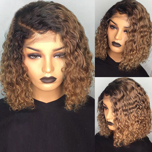 Curly Short Bob Lace Wig #1B/27 Color Black For Women Low Ratio Bleached Knots - jkhairshop