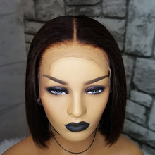 Load image into Gallery viewer, 13×6 Short Bob Cut Lace Front Human Hair Wigs Pre Plucked Deep Part Remy Brazilian Straight Wig For Women Natural Black Color - jkhairshop