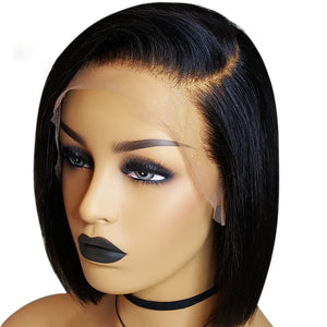13×6 Short Bob Cut Lace Front Human Hair Wigs Pre Plucked Deep Part Remy Brazilian Straight Wig For Women Natural Black Color - jkhairshop