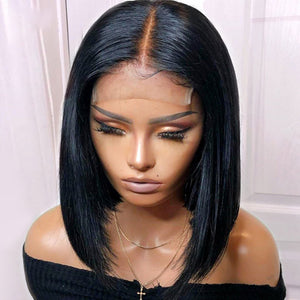 150% Density Short Human Hair Bob Wigs For Women 4*4 Lace Closure Silk Base Wig Black Roots Remy Brazilian Wig Pre Plucked - jkhairshop