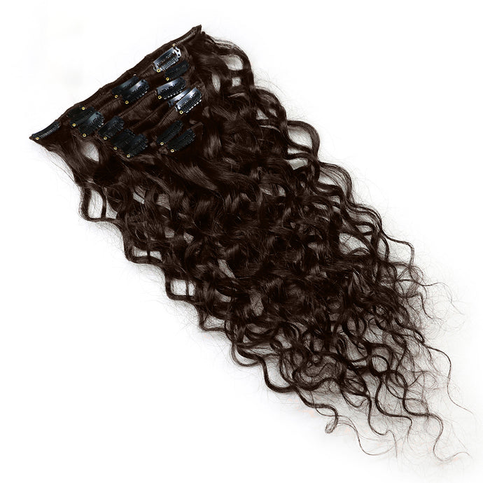 Colored #2 JK Brazilian Clip In Human Hair Extensions Remy Natural Wave - jkhairshop