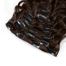 Load image into Gallery viewer, Colored #2 JK Brazilian Clip In Human Hair Extensions Remy Natural Wave - jkhairshop