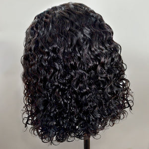 Curly Bob Lace Front Human Hair Wigs For Women Natural Color Remy Brazilian 13x4 Black Lace Wig Middle Part - jkhairshop