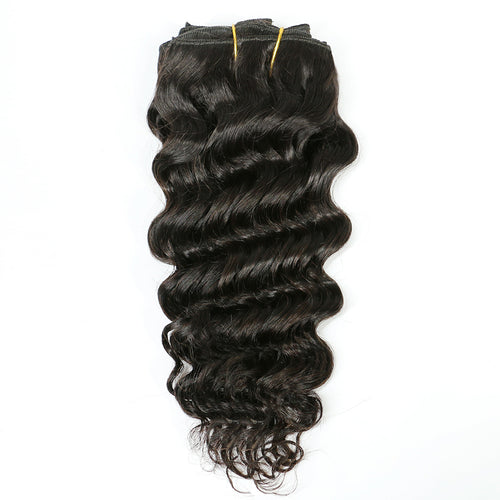 Deep Wave Remy Clip In Human Hair Extensions Natural Black Color - jkhairshop