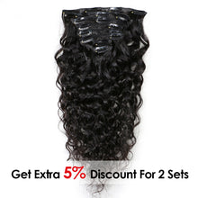 Load image into Gallery viewer, Natural Wave Hair Clip In Human Hair Extensions Natural Color 8 Pieces/Set - jkhairshop