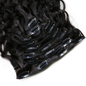 Natural Wave Hair Clip In Human Hair Extensions Natural Color 8 Pieces/Set - jkhairshop