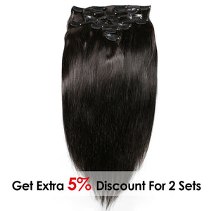 Brazilian Remy Straight Hair Clip In Human Hair Extensions Natural Color - jkhairshop