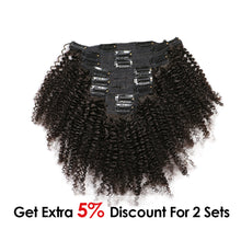 Load image into Gallery viewer, Afro Kinky Curly Weave Remy Hair Clip In Human Hair Extensions Natural Color - jkhairshop