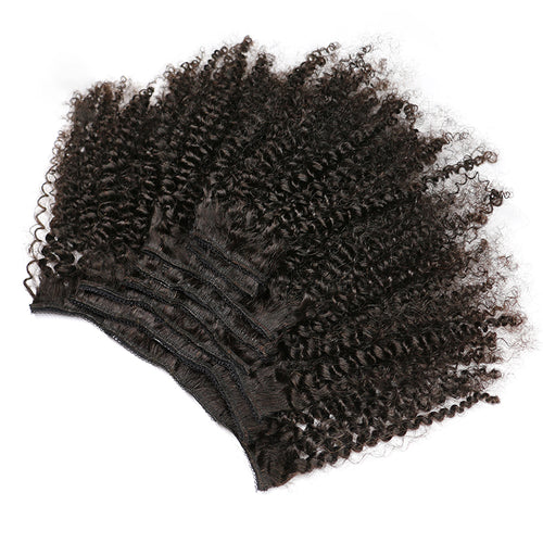 Afro Kinky Curly Weave Remy Hair Clip In Human Hair Extensions Natural Color - jkhairshop