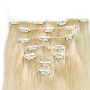 613 Colored Brazilian Straight Clip In Human Hair Extensions Remy 8Pcs/Set 120G For Whole Head - jkhairshop