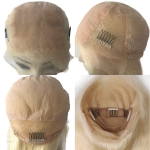 Remy Brazilian Short Bob Wigs For Women Ombre Black Root 1b/ 613 Blonde Lace Front Human Hair Wig Natural Color - jkhairshop
