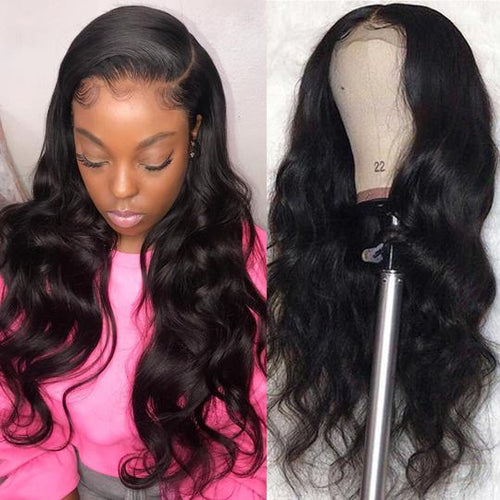 13×6 Lace Front Human Hair Wigs Pre Plucked Deep Part Remy Brazilian Body Wave Wig For Women Natural Black Color - jkhairshop