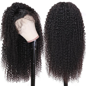 13×6 Lace Front Human Hair Wigs Pre Plucked Deep Part Remy Brazilian Curly Hair Wig For Women Natural Black Color - jkhairshop