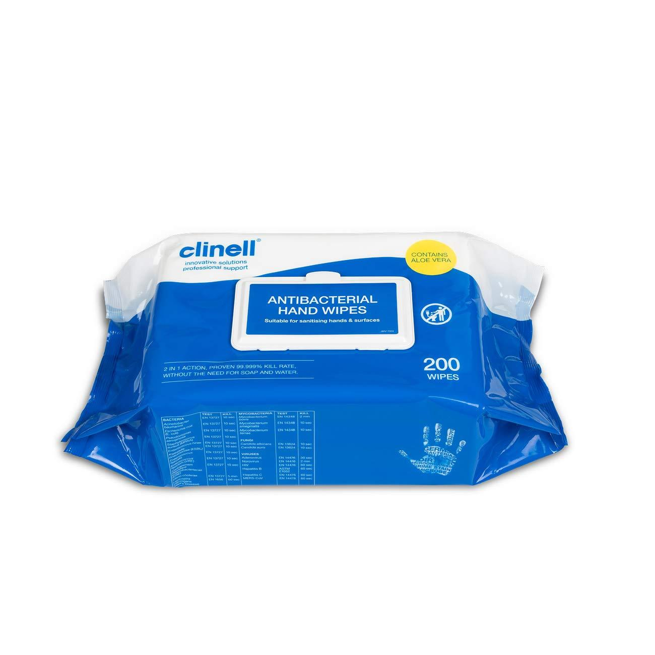 Clinell Antibacterial Sanitising Handwipes (200 Pack) - CAHW200