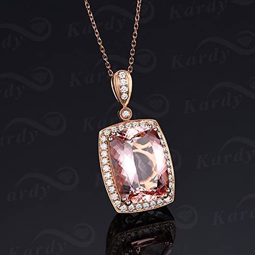 Genuine Morganite Gemstone Diamond 14ct Rose gold Engagement Promise Necklace Pendant  Jewellery