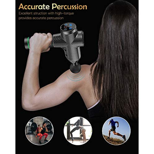 Massage Gun,Wattne Percussion Muscle Massager,Vibration Deep Tissue Wireless Handheld Electric Body Massager,Portable and Silent Brushless Motor for Muscles