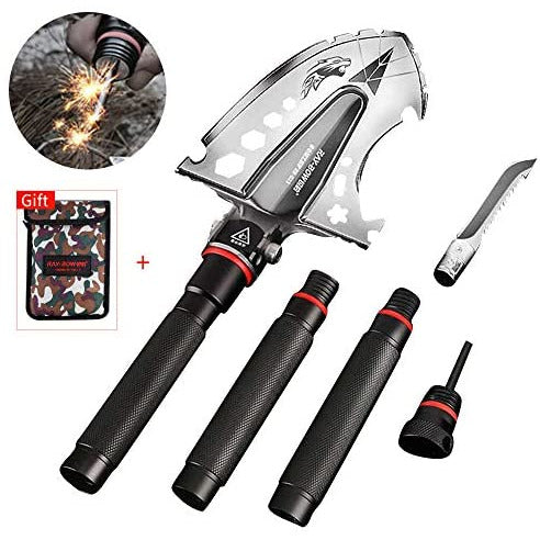 Military folding shovel, Multitool Portable Compact Tactical Spade with Waist Pack Case for Outdoor Campingdigging tools, camping, hiking, gardening, fishing