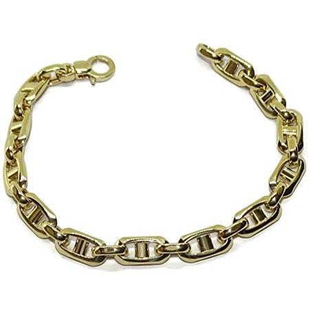 Never Say Never 18k Yellow Gold Bracelet for Men with Very Large Bar, Hollow, 21.50 cm Long, 7.5 mm Wide and 8.40 g Weight of 18 K Gold. Lobster Claw Clasp for Maximum Security Jewellery