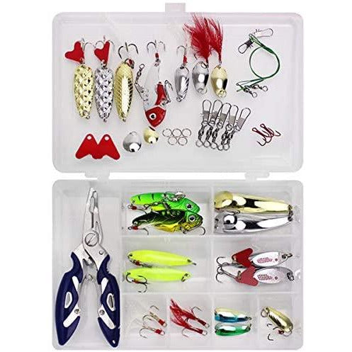 RoseFlower 146 Pieces Fishing Lure Kits Mixed Universal Artificial Soft Bait Sets Including Spinning Lures, Plastic Worms, Frogs, Single Hooks, Tackle Box - Freshwater Saltwater Fishing Equipment