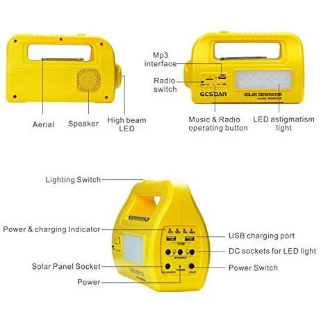 Solar Lighting System - LED Bulb Portable Solar Power DC Lighting  - USB output Port Flashlights