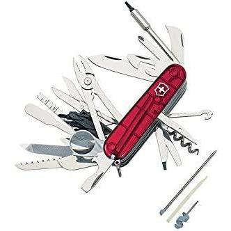 Victorinox Swiss Champ Xlt Swiss Army Pocket Knife, Medium, Multi Tool, 49 Functions, Blade, Bits, Red Transparent: Sports & Outdoors - special deal