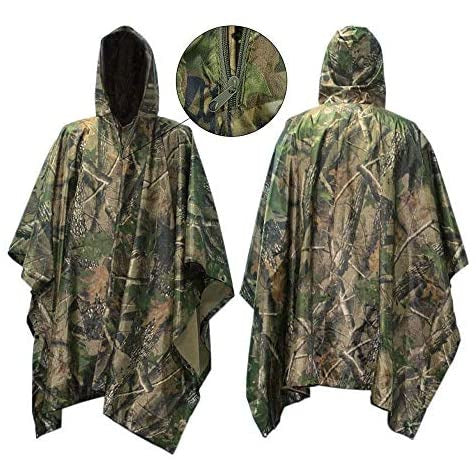 Waterproof Rain Poncho, Vaxiuja Leisure Raincoat – Rain Jacket for Hunting, Camping, Cycling, Hiking  Camouflage Rain Poncho / Rain Cape