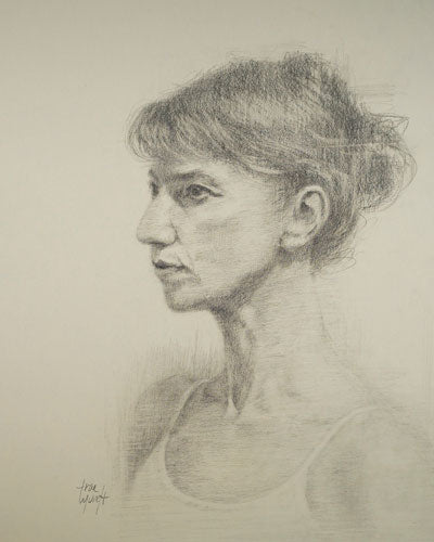 About to Dance. Pencil Portrait of Ballerina moments before her rehearsal by artist Trae Mundt.