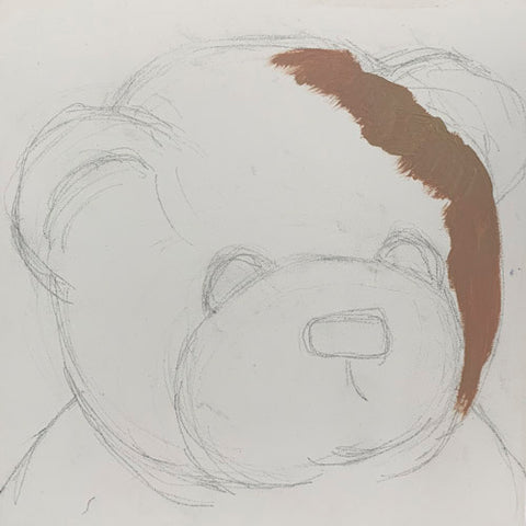 """Beginning Pencil Sketch for portrait oil painting of teddy bear """"Bernard"""". Bearie Blvd. Bears® by artist Trae Mundt. Monochromatic fur-like made with raw umber and titianium white, Nose and eyes and mouth painted with ivory black lukas berlin."""
